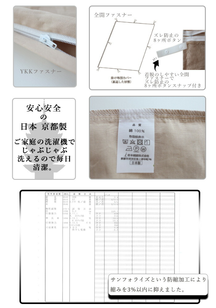 掛布団カバー 8ヶ所スナップボタン 全開ファスナー 安心安全の日本 京都製 ご家庭の洗濯機でじゃぶじゃぶ洗えます サンフォライズという防縮加工により縮みを3%以内に抑えました