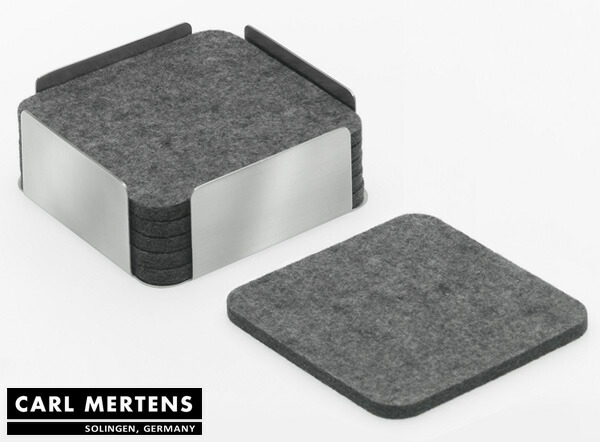 livingut rakuten global market carl mertens hampton felt coasters stainless steel holder with. Black Bedroom Furniture Sets. Home Design Ideas