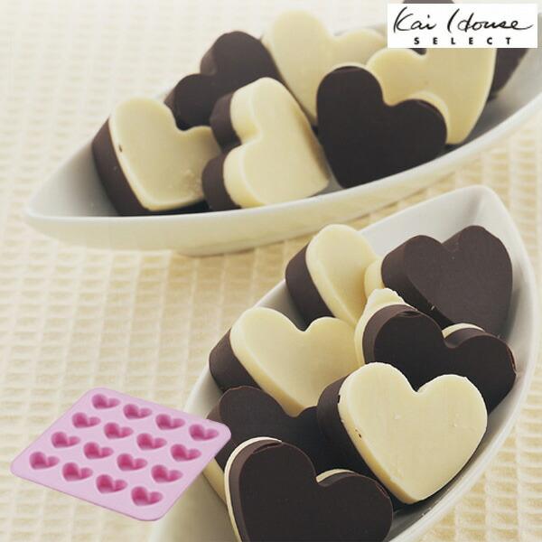 シリコントレー シリコン型 ハート チョコレート型 16個取 ( シリコン シリコン製 シリコーン お菓子型 2層チョコ 2段チョコ )