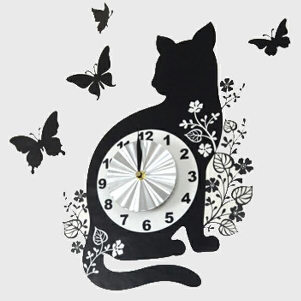 ウォールクロックステッカー 時計 猫 バタフライ