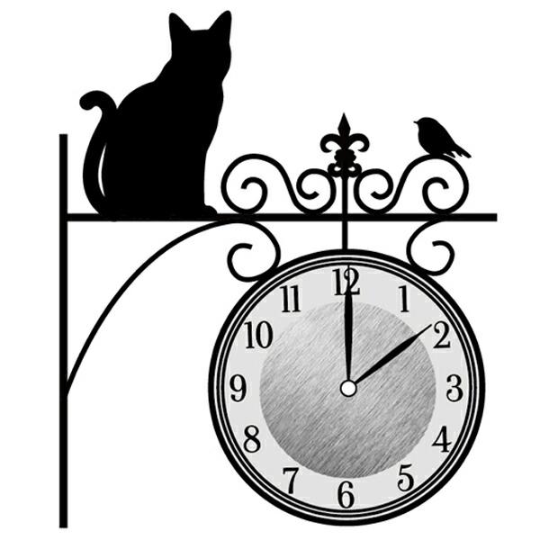 ウォールクロックステッカー 時計 猫 Wall Clock Sticker