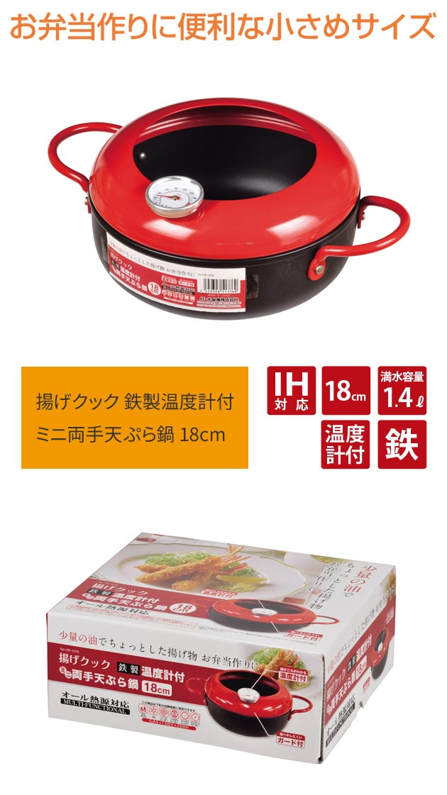 鉄製 温度計付き ミニ両手天ぷら鍋 18cm