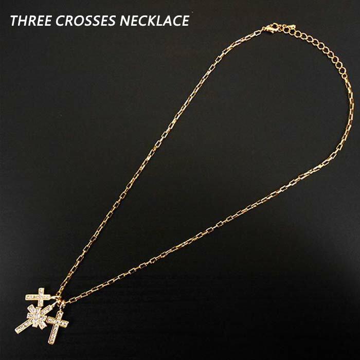 【メール便送料無料】 クロス ネックレス 3連 ゴールド ネック 十字架 ダブル ペンダント TOP ビジュー アクセサリー ジルコニア 金
