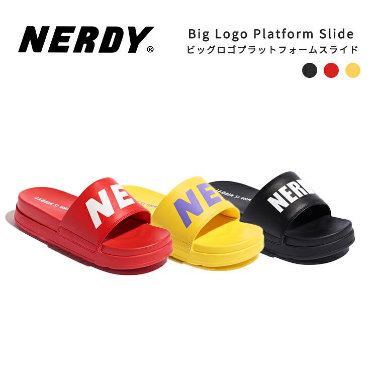 NERDY ノルディ サンダル Big Logo Platform Slide 韓国 ZICO 原宿 メンズ レディース ユニセックス スポーツ nerdy 正規品