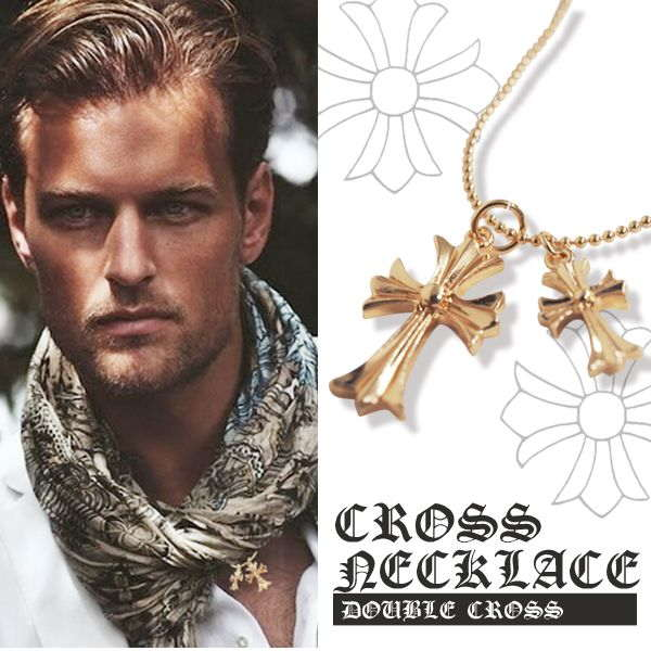 クロス ネックレス 二連 ゴールド ネック 十字架 ダブル ペンダント