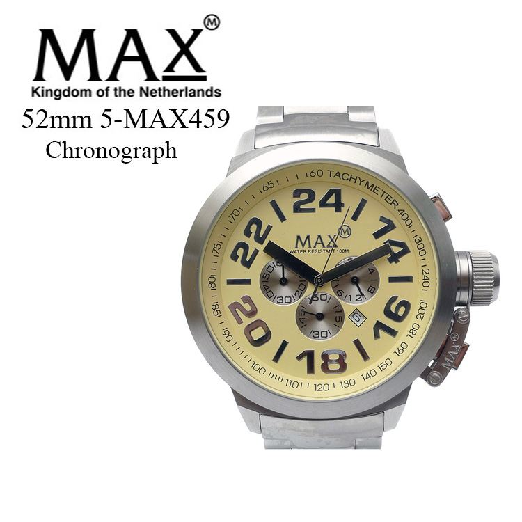 MAX XL WATCHES 5-MAX459 腕時計 クロノグラフ機能 日付表示機能 2年保証付 メタルベルト 50m防水 日本製クオーツ採用 オランダ スーツ カジュアル