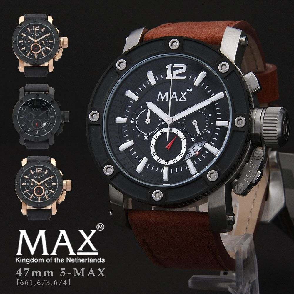 max,XL,WATCHES,マックス,メンズ,腕時計,クロノグラフ,レザー,ビジネス,シルバー,5-max661,673,674,オランダ,ヨーロッパ,EU,大きい,エックスエル,ウォッチズ,2年保証書