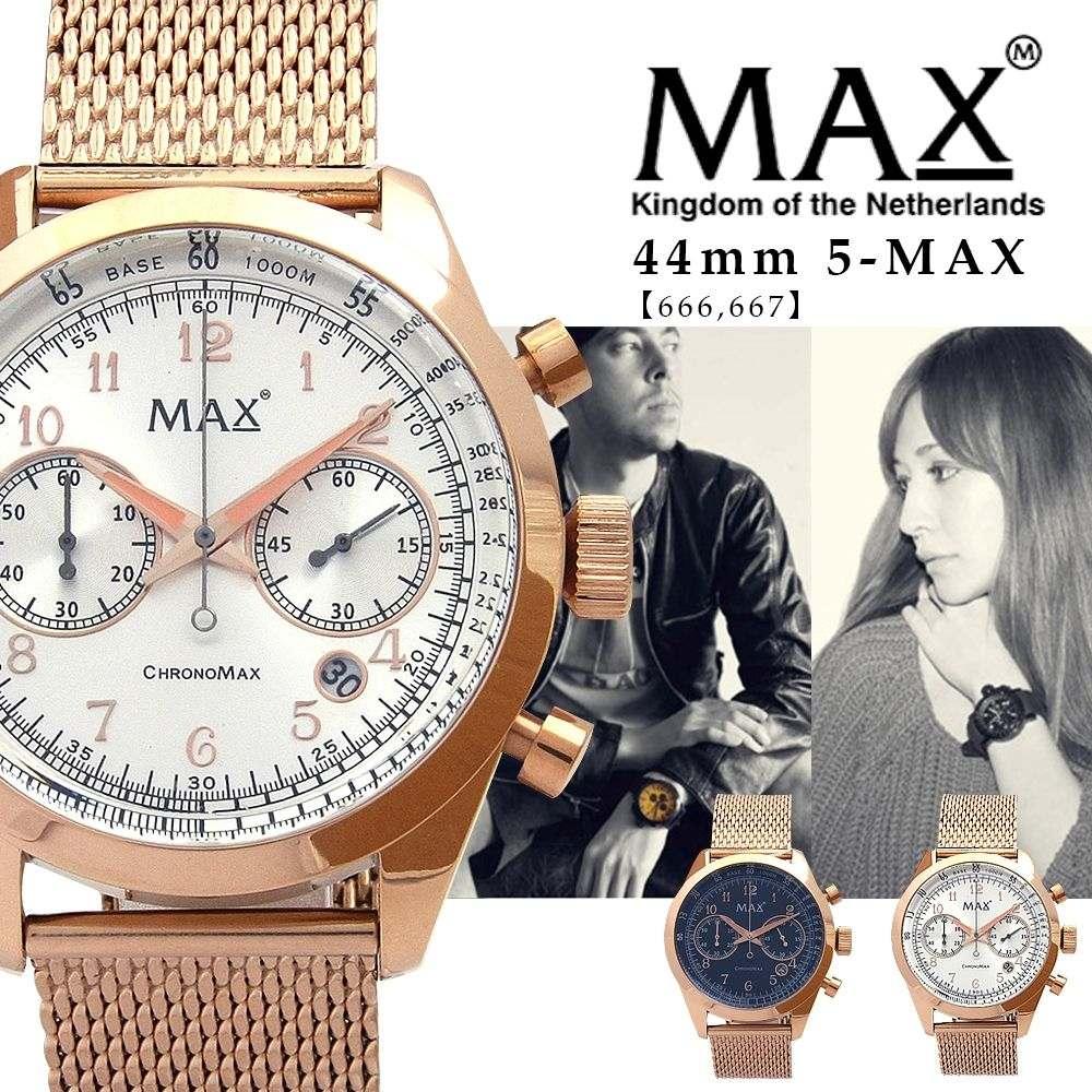 max XL WATCHES マックス メンズ 腕時計 クロノグラフ メタル ベルト ゴールド 金 ビジネス 5-max 666 667 オランダ ヨーロッパ EU 大きい 2年保証書
