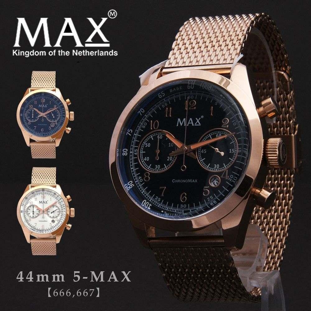 max,XL,WATCHES,マックス,メンズ,腕時計,クロノグラフ,メタル,ベルト,ゴールド,金,ビジネス,5-max,666,667,オランダ,ヨーロッパ,EU,大きい,2年保証書