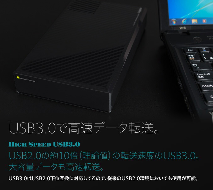 USB3.0で高速データ転送。