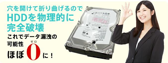 穴を開けて折り曲げるのでHDDを物理的に完全破壊 これでデータ漏洩の可能性ほぼ0に!