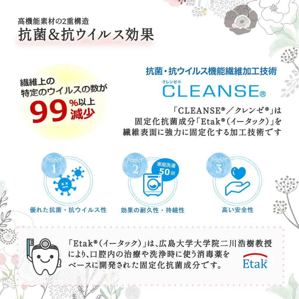 抗菌・抗ウイルス機能繊維加工技術クレンゼ(CLEANSE)を使用