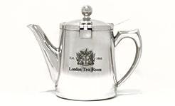【紅茶専門店ならではの視点から生まれたティーポット】●ティーポット ステンレス製 茶こし付き【茶漉しタイプ:丸型取っ手】 ブリティッシュタイプ(ロゴ入)