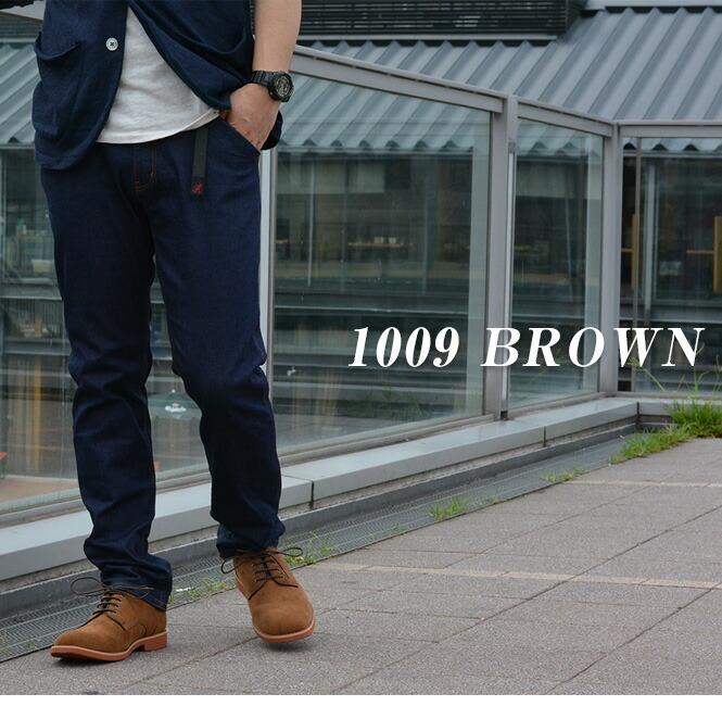 メンズ プレーントゥ カジュアルシューズ 1009 BROWN