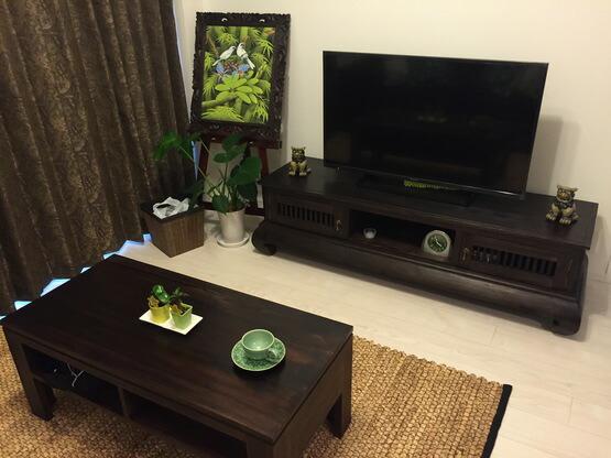 【AS-015】猫脚のアジアンアンティークスタイルチーク材TVボード/ローボード