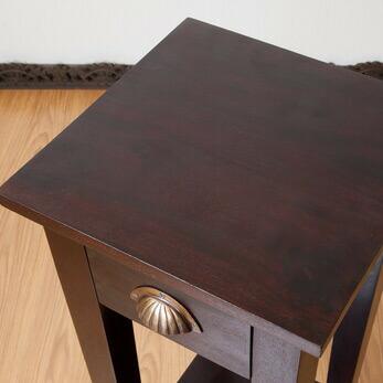 スリムタイプアンティーク調サイドテーブル2段(高さ90cm)【N-002LBR】