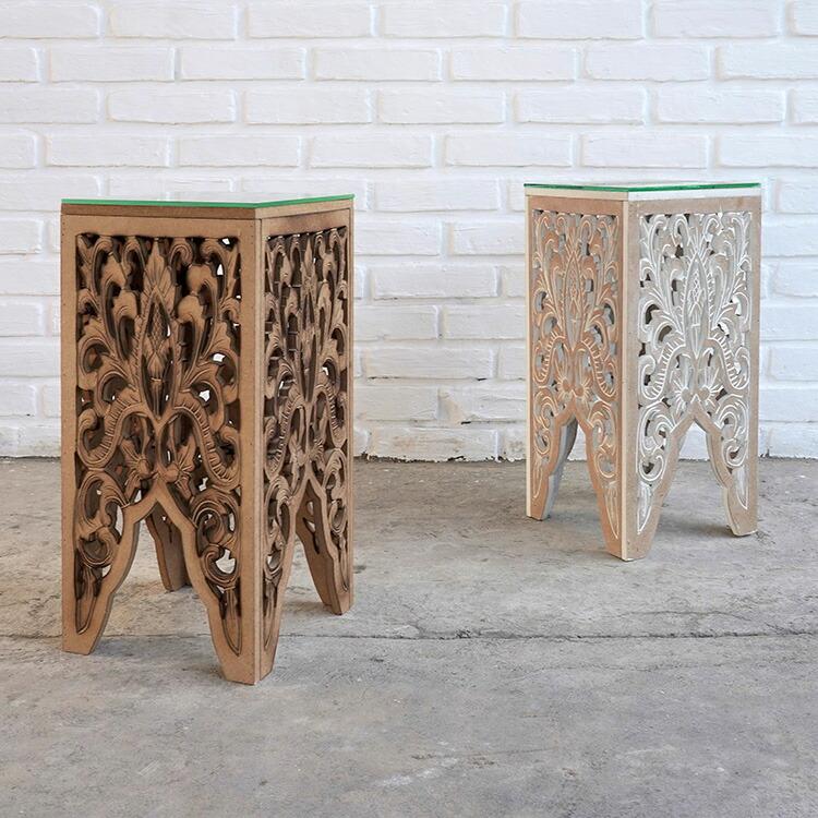 ウッドレリーフガラステーブルランプ