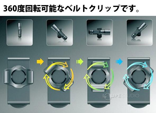 360度回転可能なベルトクリップです。
