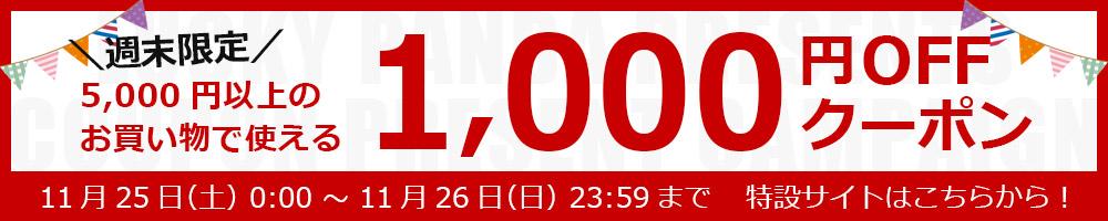 週末限定クーポン!一回5000円以上購入で1000円OFF!