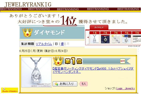 プラチナ900×ペアシェイプ(雫)ダイヤモンド 1.00カラット ペンダントネックレス