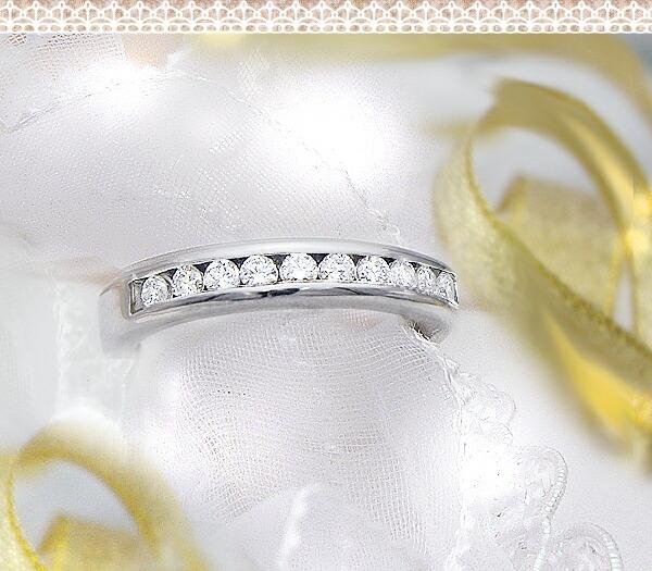選べるK18 0.33ctレールセッティングダイヤモンドリング
