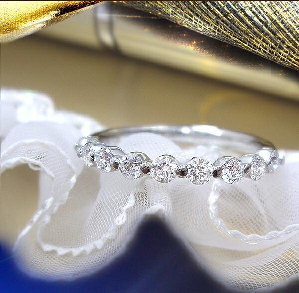 pt900/pt950 0.5ctエタニティダイヤモンドリング