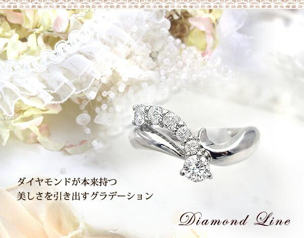 pt900/pt950 0.5ctダイヤモンドラインリング