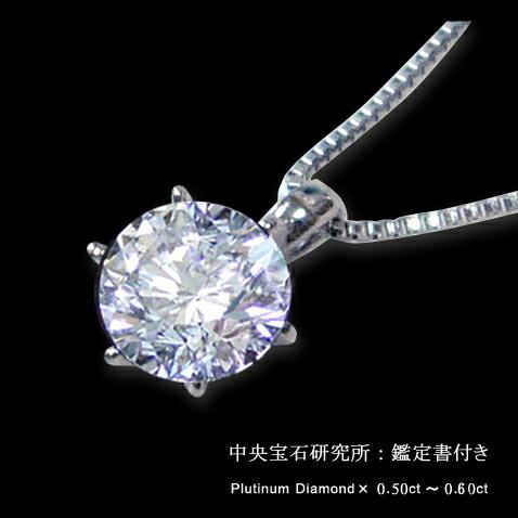 鑑定書付き/プラチナ0.50ct~0.60ctティファニー爪ダイヤモンドペンダントネックレス