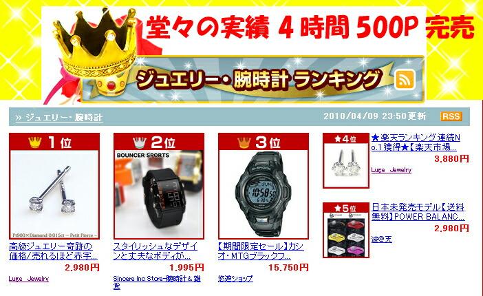 楽天市場リアムタイムランキング♪ ジュエリー・腕時計ランキング 堂々の第!位!