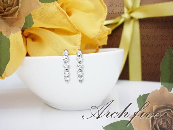 K18 1.0ctラインダイヤモンドピアス『Archfive』