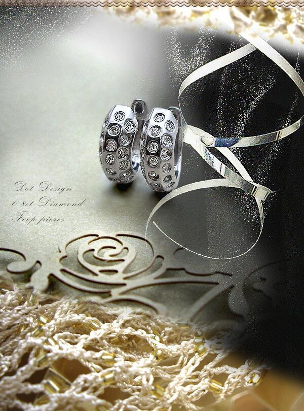 Pt900 0.40ctダイヤモンド ドッツ フープピアス