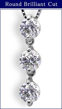 プラチナ900×スリーストーンダイヤモンド 1カラット ペンダントネックレス
