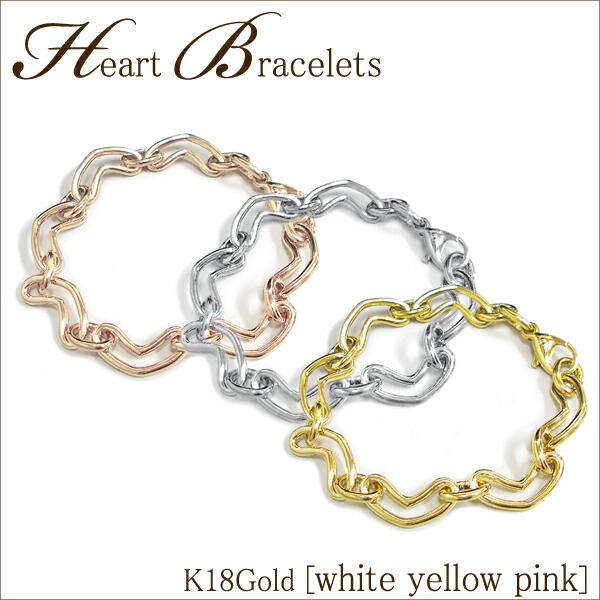 K18(ホワイト/イエロー/ピンク)ゴールド ハート ブレスレット