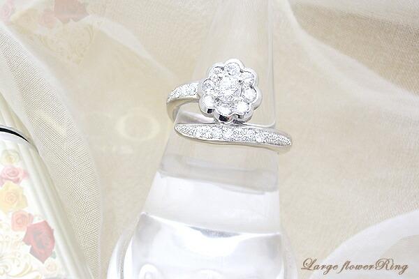 プラチナ1.0ctフラワーダイヤモンドリング(指輪)