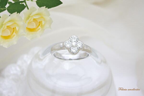 プラチナ0.6ctフラワーダイヤモンドリング(指輪)幸せの四つ葉クローバー