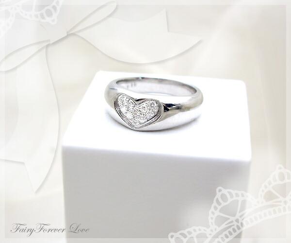 k18ハートパヴェダイヤモンドリング(指輪)[SIクラスF〜Dカラー無色透明]