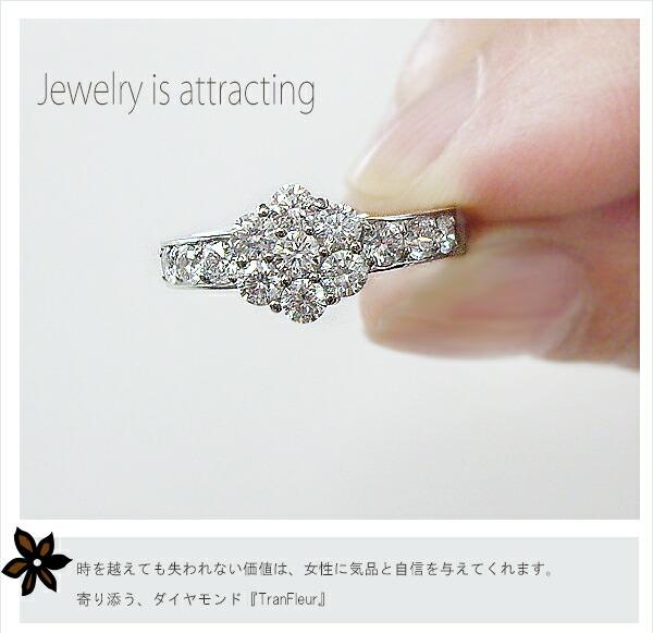 k18 フラワーダイヤモンドリング[Color:F〜D無色透明/ClarityVS〜:SIクラス]