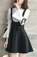 【10/8再入荷】Queenサイズ☆編み上げデザイントップス×サロペットスカート