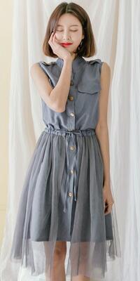 Queenサイズ☆2WAY ノースリーブワンピース×チュールスカート