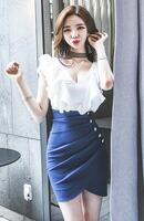 【6/7更新】Queenサイズ☆フリルデザインホワイト×ブルーワンピース