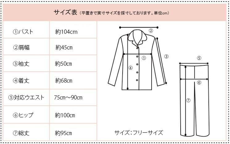 シルクパジャマ・メンズ サイズ表記