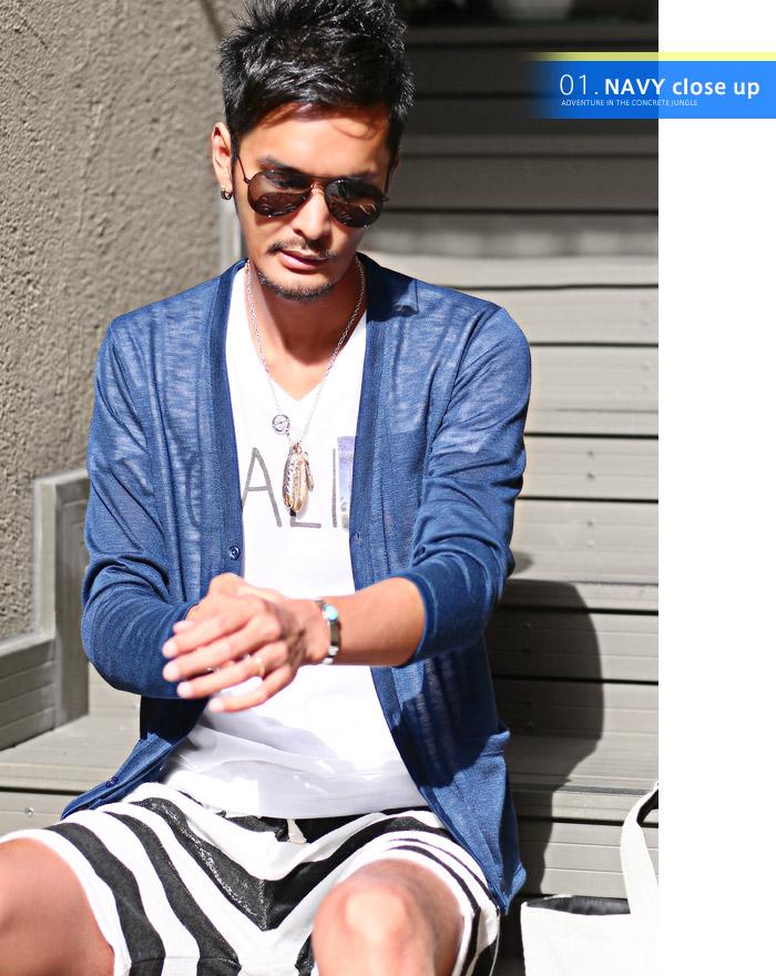 カーディガン メンズ 夏 サマー シースルー 海 ラッシュガード 薄手 ボーダー BITTER ビター系 お兄系 ファッション 4