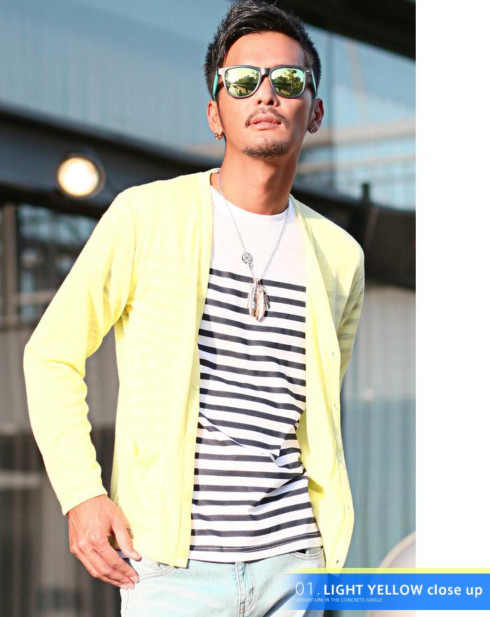 カーディガン メンズ 夏 サマー シースルー 海 ラッシュガード 薄手 ボーダー BITTER ビター系 お兄系 ファッション 6