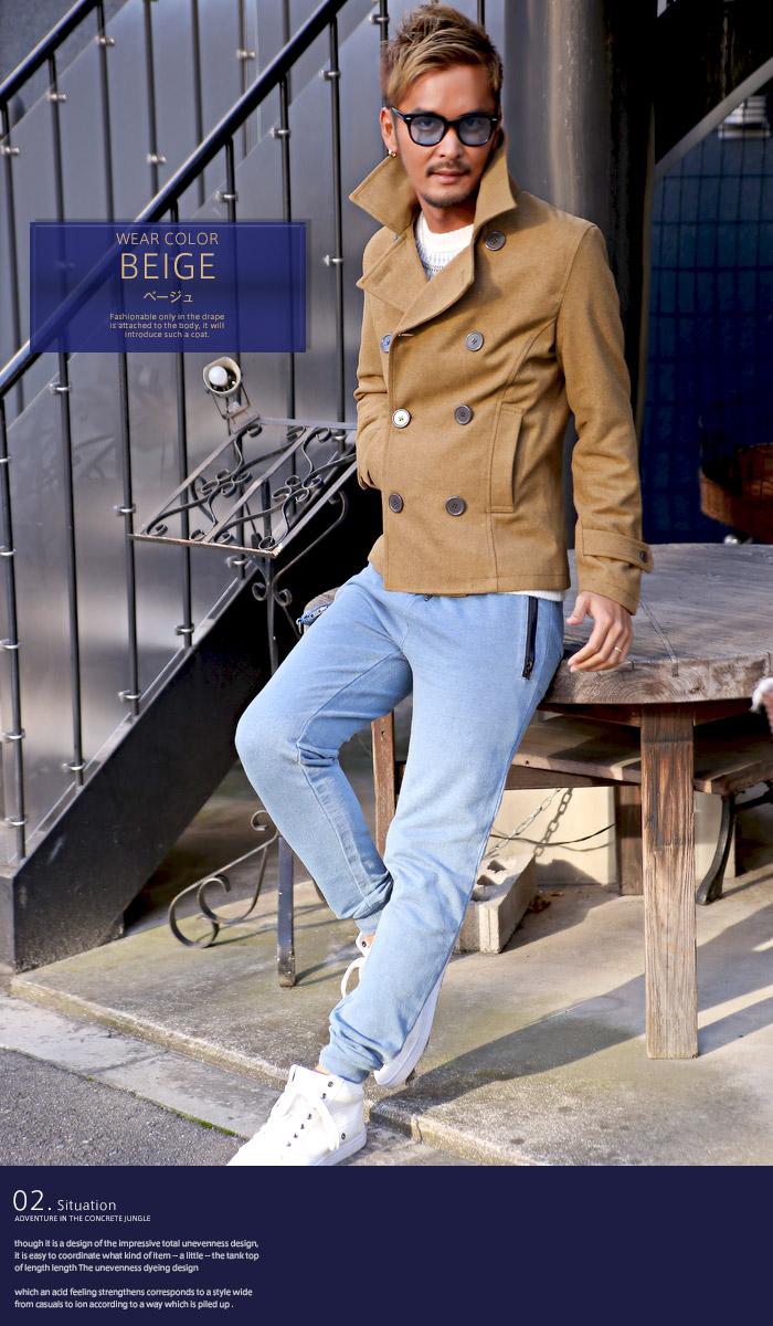 ピーコート Pコート メンズ ジャケット コート ウール ショート丈 冬 BITTER ビター系 ウールコート アウター 毛 丈 無地 ウインドペン チェック 柄 細身 8