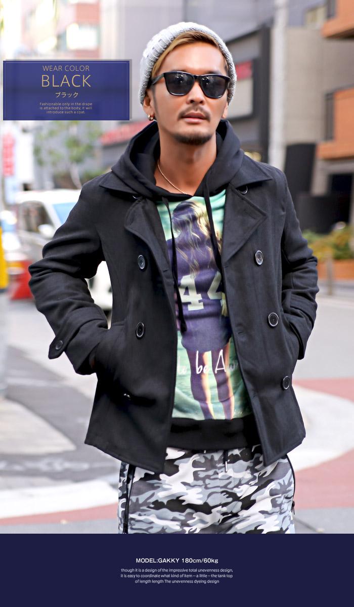 ピーコート Pコート メンズ ジャケット コート ウール ショート丈 冬 BITTER ビター系 ウールコート アウター 毛 丈 無地 ウインドペン チェック 柄 細身 3