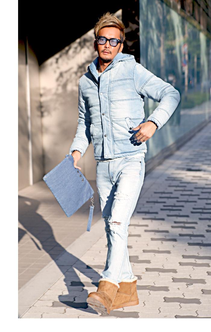 中綿ジャケット メンズ デニム ジャケット ブルゾン 冬 アウター BITTER ビター系 ダウンジャケット ストレッチデニム カットデニム インディゴ 厚手 フード 防寒 染め 加工 大人 サーフ ブリーチ ファッション 服 5