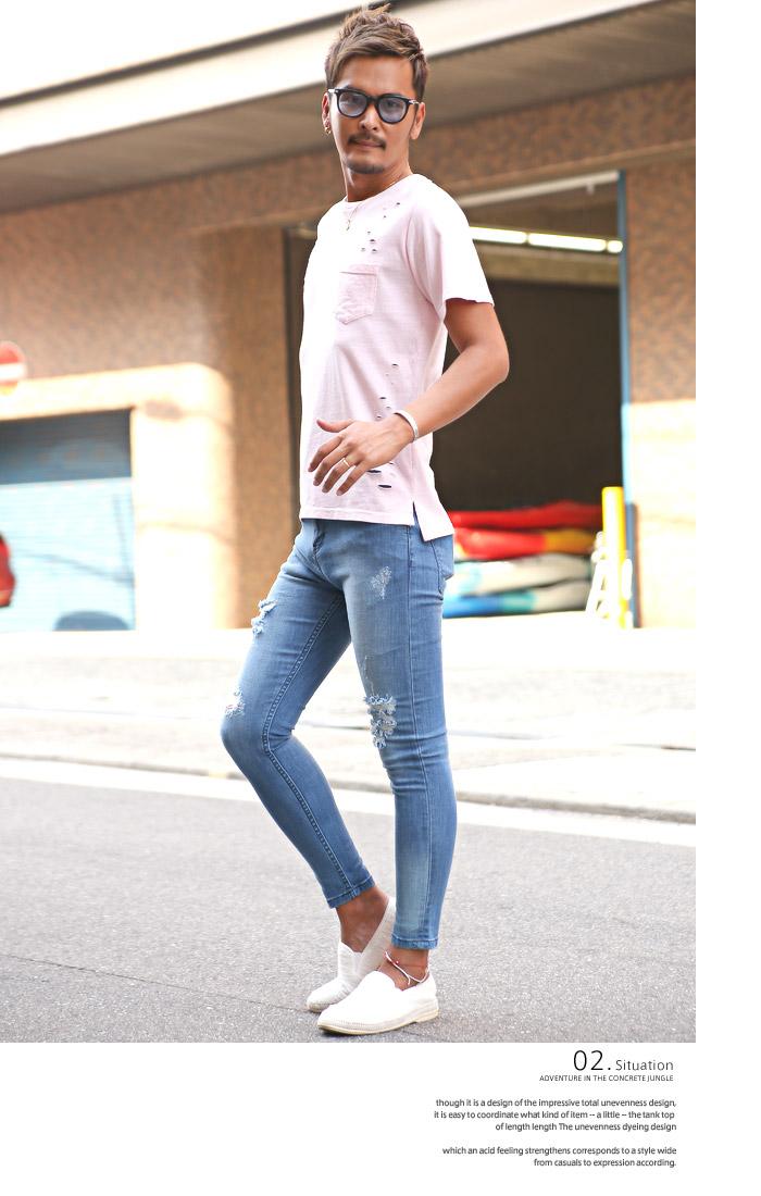 Lux Style Pro Denim Skinny Pants Men Ankle Damage Crash