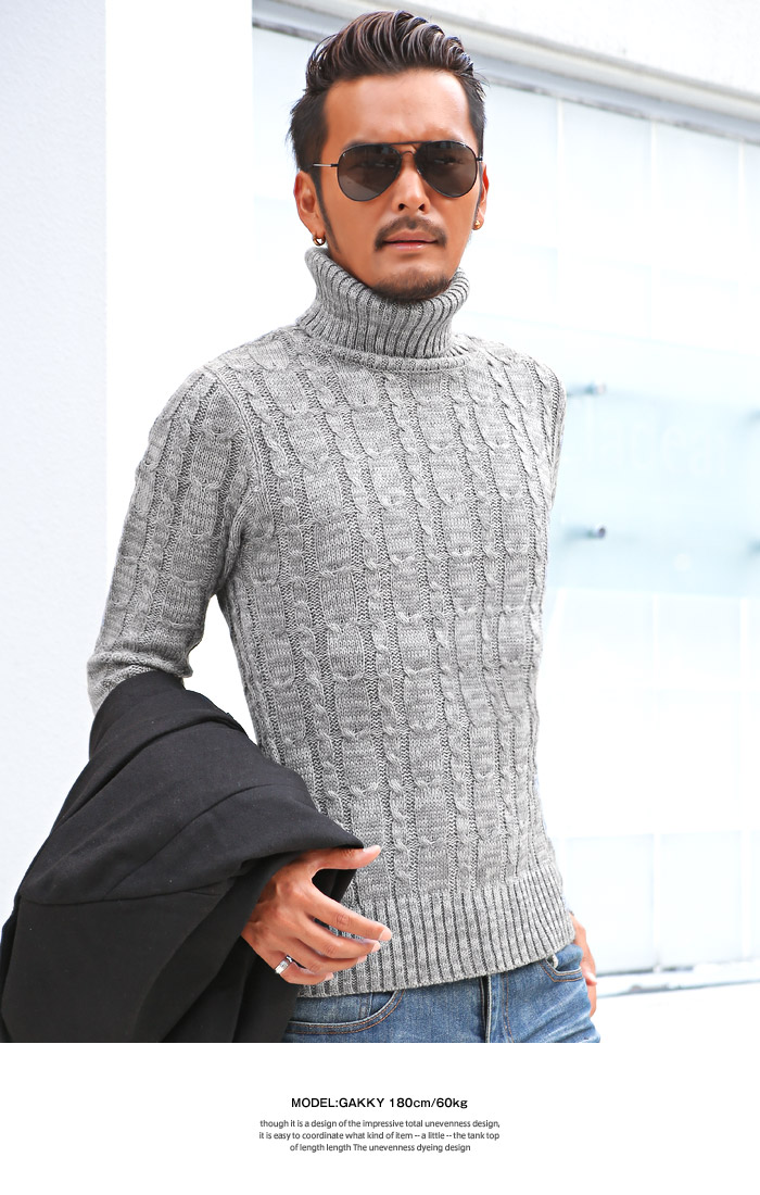 タートルネック ハイネック ニット セーター メンズ 秋服 冬服 BITTER ビター系 6