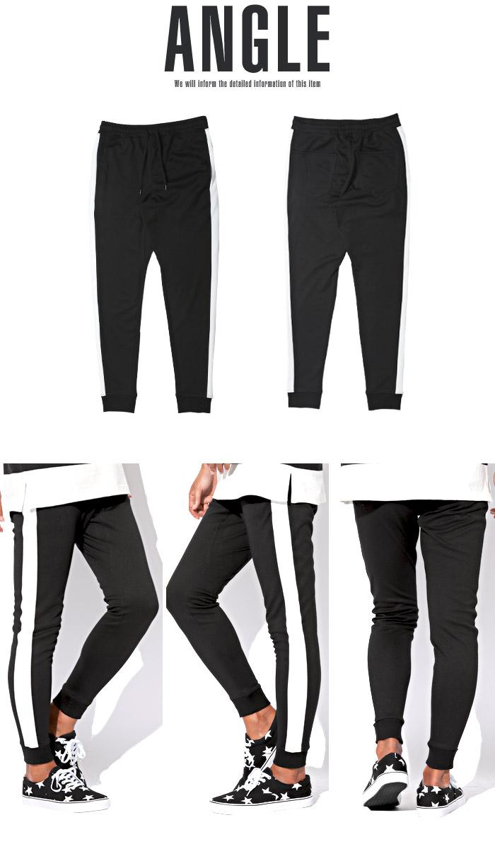 ジョガーパンツ メンズ スウェットパンツ ライン サイドライン スリム イージー 裾リブ BITTER ビター系 ジョガー スウェット スエット パンツ 28