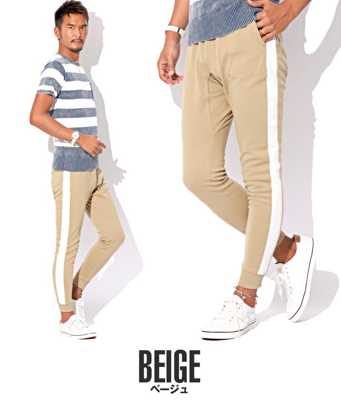 ジョガーパンツ メンズ スウェットパンツ ライン サイドライン スリム イージー 裾リブ BITTER ビター系 ジョガー スウェット スエット パンツ 19